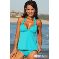 Teal Open Back Tankini