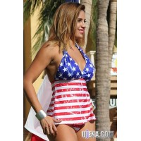 American Stars and Stripes Vintage Open-Back Tankini Bikini
