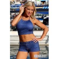 Baby Blue Jeans Neck-Tie Halter Top