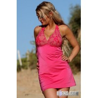Rosy Halter Swim Dress